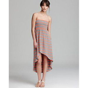 Aqua Strapless Striped Tube High Low Dress XS